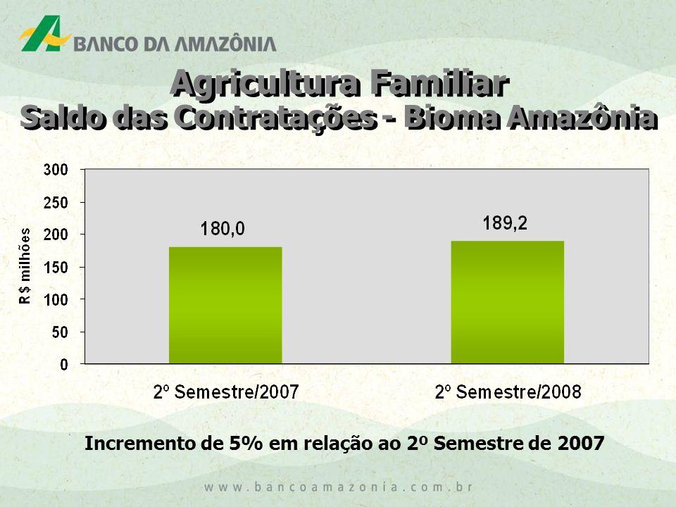 Agricultura Familiar Saldo das Contratações - Bioma Amazônia Agricultura Familiar Saldo das Contratações - Bioma Amazônia Incremento de 5% em relação ao 2º Semestre de 2007