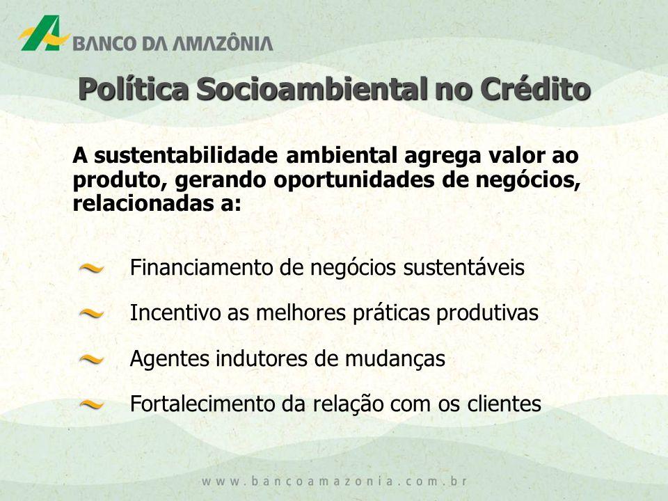 Financiamento de negócios sustentáveis Incentivo as melhores práticas produtivas Agentes indutores de mudanças Fortalecimento da relação com os clientes A sustentabilidade ambiental agrega valor ao produto, gerando oportunidades de negócios, relacionadas a: Política Socioambiental no Crédito
