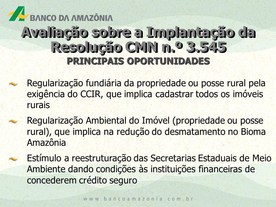 Avaliação sobre a Implantação da Resolução CMN n.º 3.545 PRINCIPAIS OPORTUNIDADES Regularização fundiária da propriedade ou posse rural pela exigência do CCIR, que implica cadastrar todos os imóveis rurais Regularização Ambiental do Imóvel (propriedade ou posse rural), que implica na redução do desmatamento no Bioma Amazônia Estímulo a reestruturação das Secretarias Estaduais de Meio Ambiente dando condições às instituições financeiras de concederem crédito seguro
