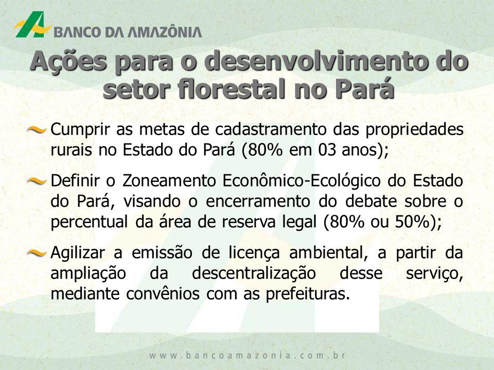 Ações para o desenvolvimento do setor florestal no Pará Cumprir as metas de cadastramento das propriedades rurais no Estado do Pará (80% em 03 anos); Definir o Zoneamento Econômico-Ecológico do Estado do Pará, visando o encerramento do debate sobre o percentual da área de reserva legal (80% ou 50%); Agilizar a emissão de licença ambiental, a partir da ampliação da descentralização desse serviço, mediante convênios com as prefeituras.