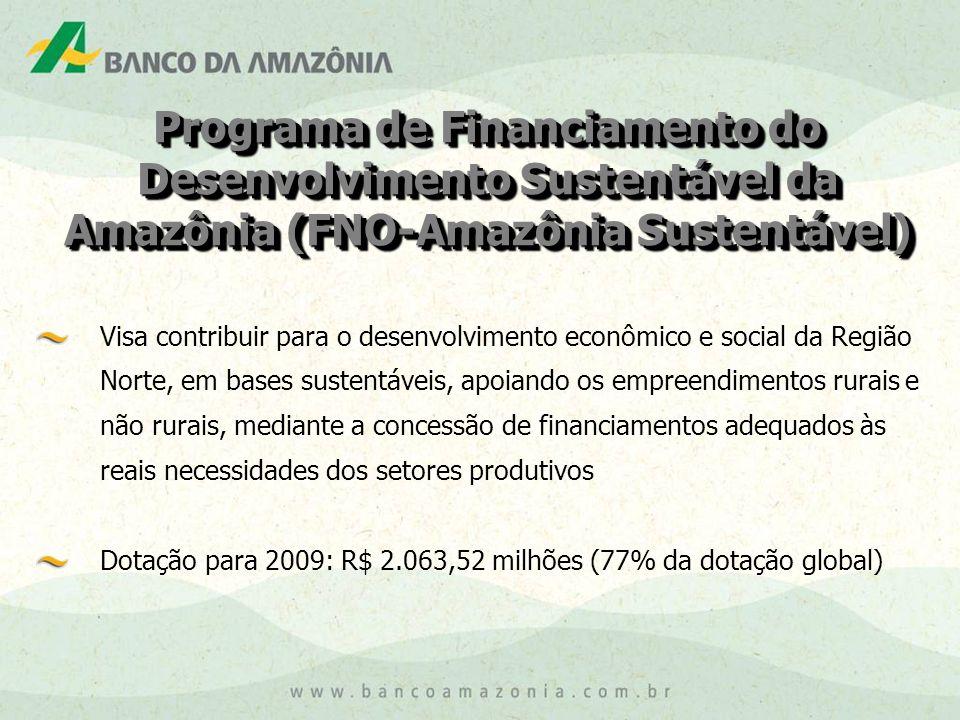 Programa de Financiamento do Desenvolvimento Sustentável da Amazônia (FNO-Amazônia Sustentável) Visa contribuir para o desenvolvimento econômico e social da Região Norte, em bases sustentáveis, apoiando os empreendimentos rurais e não rurais, mediante a concessão de financiamentos adequados às reais necessidades dos setores produtivos Dotação para 2009: R$ 2.063,52 milhões (77% da dotação global)