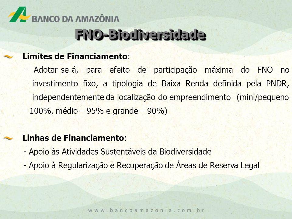 FNO-BiodiversidadeFNO-Biodiversidade Limites de Financiamento: - Adotar-se-á, para efeito de participação máxima do FNO no investimento fixo, a tipologia de Baixa Renda definida pela PNDR, independentemente da localização do empreendimento (mini/pequeno – 100%, médio – 95% e grande – 90%) Linhas de Financiamento: - Apoio às Atividades Sustentáveis da Biodiversidade - Apoio à Regularização e Recuperação de Áreas de Reserva Legal