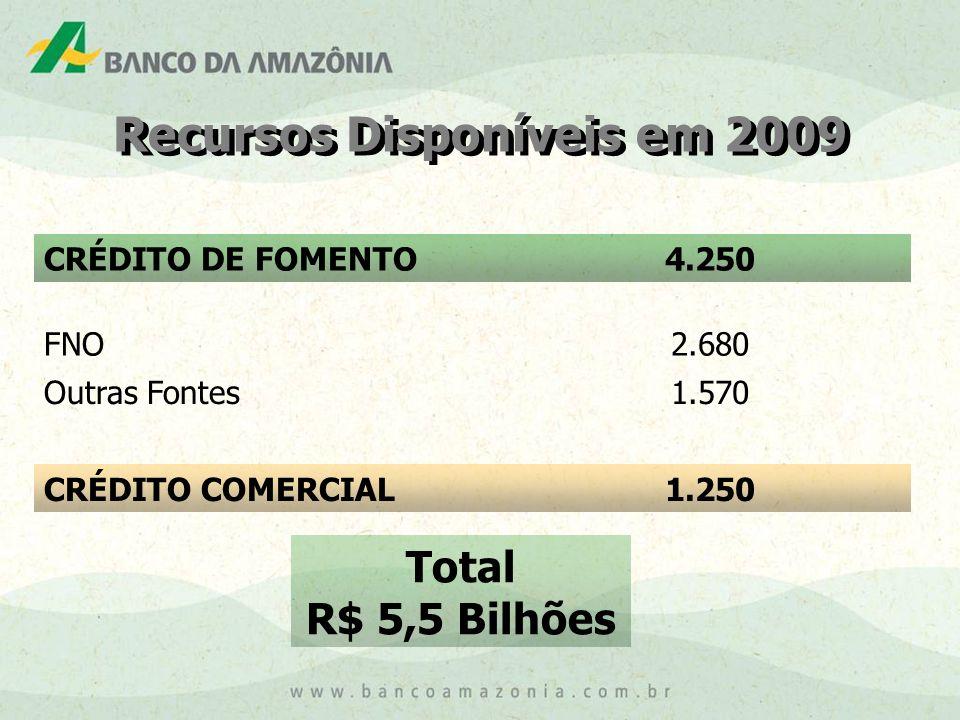 CRÉDITO DE FOMENTO4.250 FNO2.680 Outras Fontes1.570 CRÉDITO COMERCIAL1.250 Total R$ 5,5 Bilhões Recursos Disponíveis em 2009