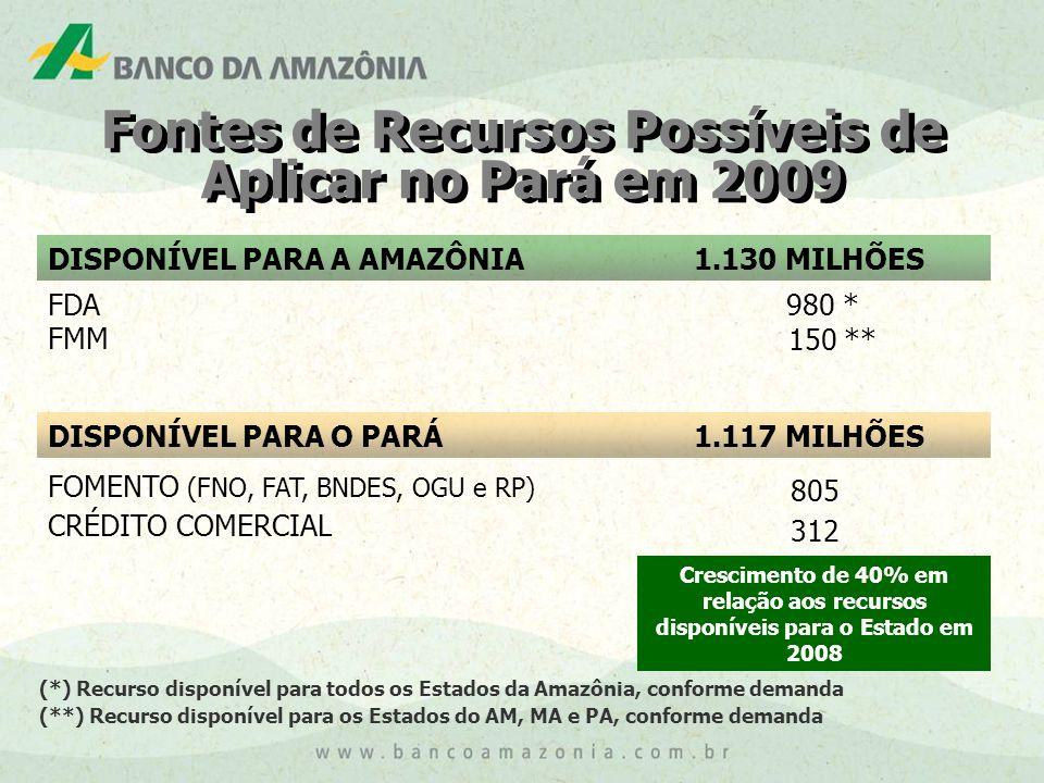 DISPONÍVEL PARA A AMAZÔNIA1.130 MILHÕES FDA FMM 980 * 150 ** DISPONÍVEL PARA O PARÁ1.117 MILHÕES Fontes de Recursos Possíveis de Aplicar no Pará em 2009 (*) Recurso disponível para todos os Estados da Amazônia, conforme demanda (**) Recurso disponível para os Estados do AM, MA e PA, conforme demanda FOMENTO (FNO, FAT, BNDES, OGU e RP) CRÉDITO COMERCIAL 805 312 Crescimento de 40% em relação aos recursos disponíveis para o Estado em 2008