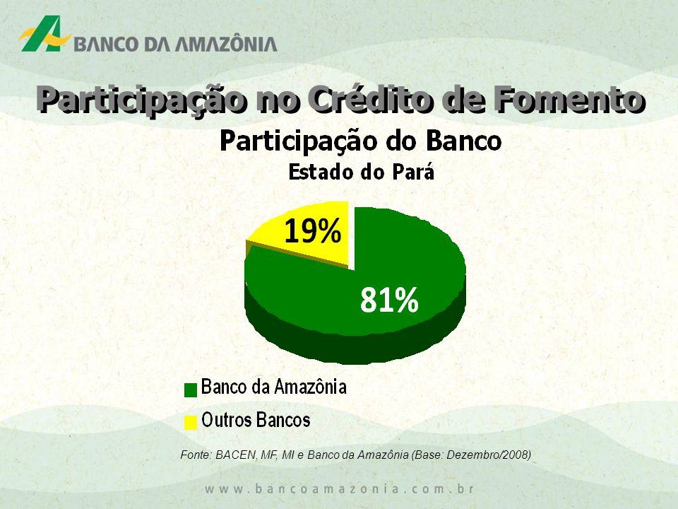 Participação no Crédito de Fomento Fonte: BACEN, MF, MI e Banco da Amazônia (Base: Dezembro/2008)