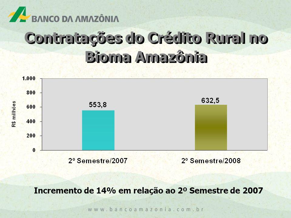 Incremento de 14% em relação ao 2º Semestre de 2007 Contratações do Crédito Rural no Bioma Amazônia