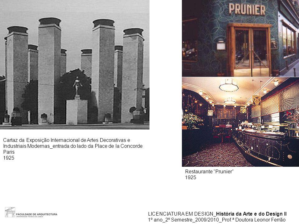 """LICENCIATURA EM DESIGN_História da Arte e do Design II 1º ano_2º Semestre_2009/2010_Prof.ª Doutora Leonor Ferrão Restaurante """"Prunier"""" 1925 Cartaz da"""