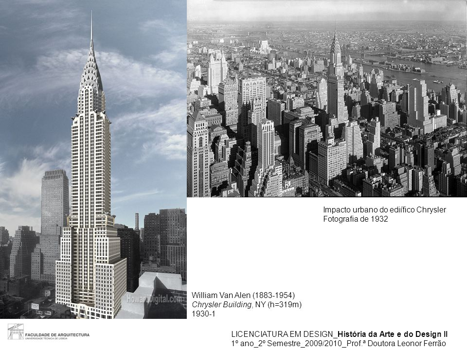 LICENCIATURA EM DESIGN_História da Arte e do Design II 1º ano_2º Semestre_2009/2010_Prof.ª Doutora Leonor Ferrão William Van Alen (1883-1954) Chrysler