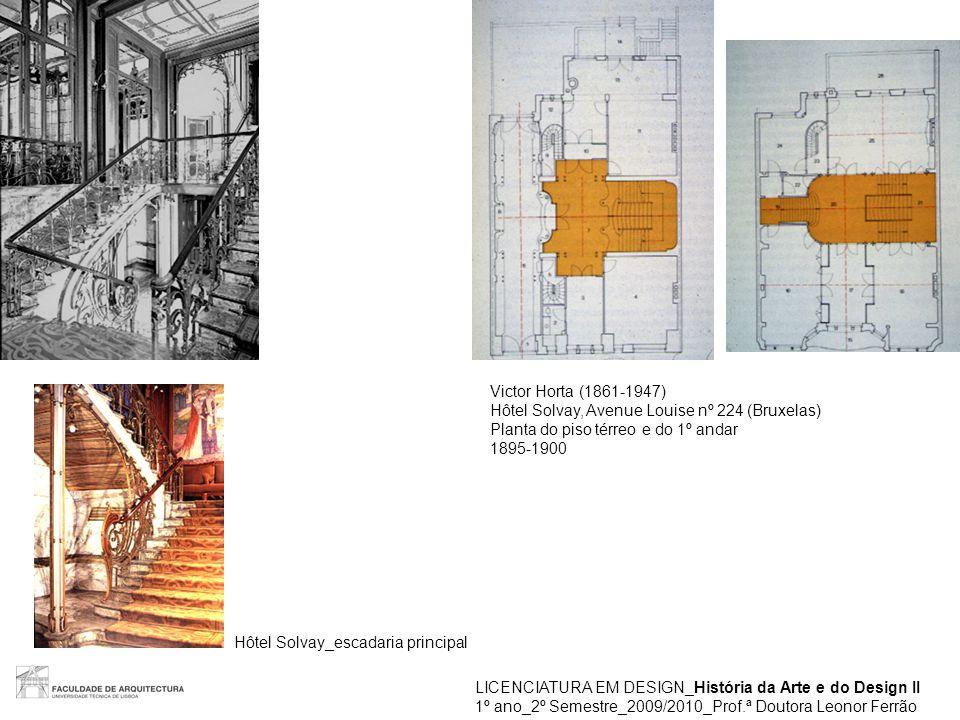 LICENCIATURA EM DESIGN_História da Arte e do Design II 1º ano_2º Semestre_2009/2010_Prof.ª Doutora Leonor Ferrão Victor Horta (1861-1947) Hôtel Solvay