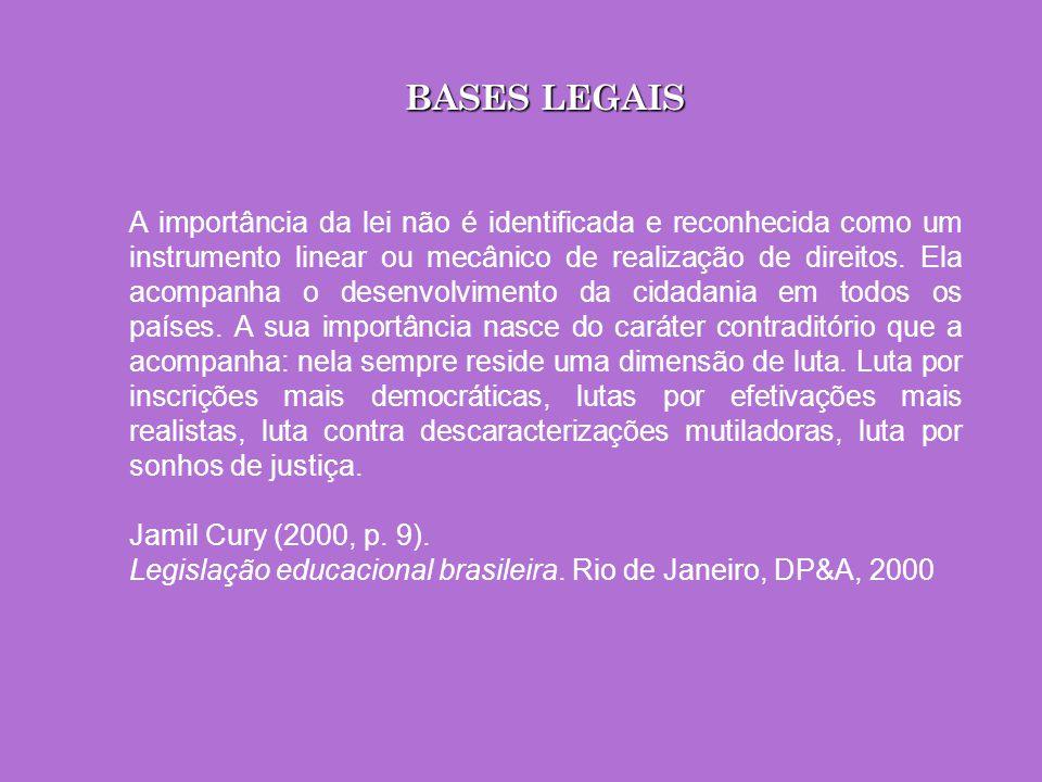 BASES LEGAIS A importância da lei não é identificada e reconhecida como um instrumento linear ou mecânico de realização de direitos. Ela acompanha o d