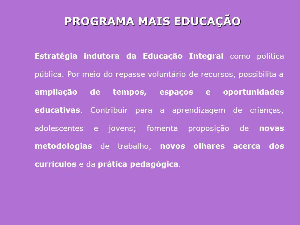 PROGRAMA MAIS EDUCAÇÃO Estratégia indutora da Educação Integral como política pública. Por meio do repasse voluntário de recursos, possibilita a ampli