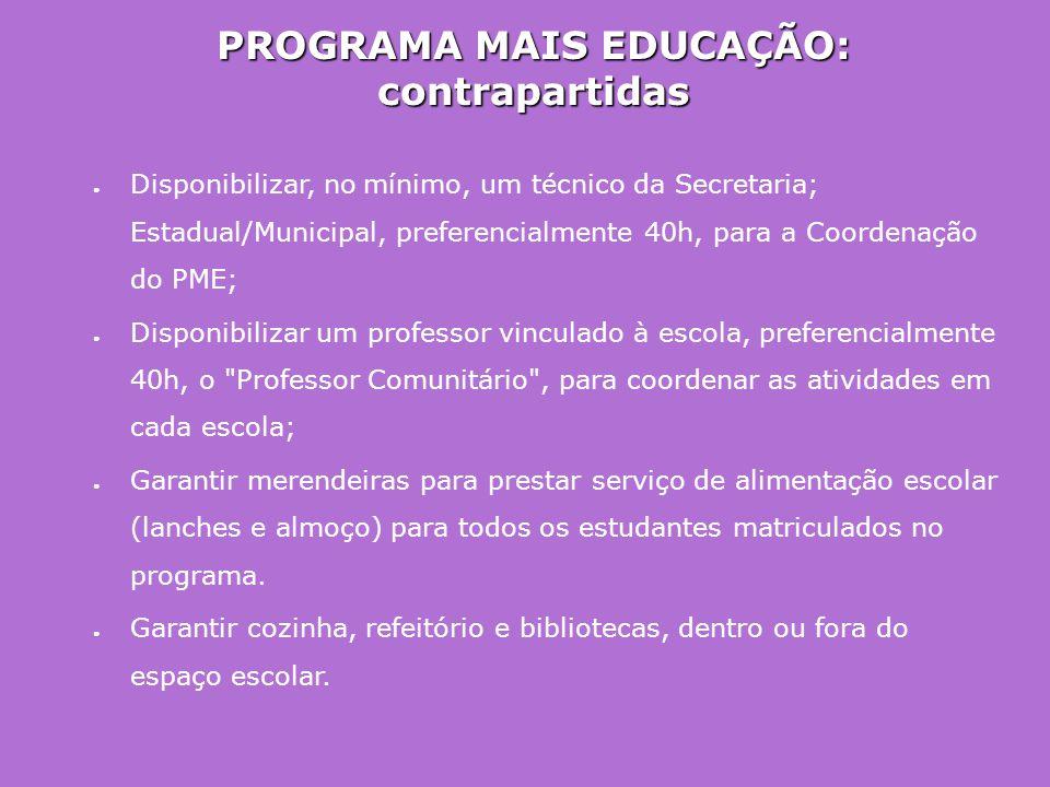 PROGRAMA MAIS EDUCAÇÃO: contrapartidas ● Disponibilizar, no mínimo, um técnico da Secretaria; Estadual/Municipal, preferencialmente 40h, para a Coorde
