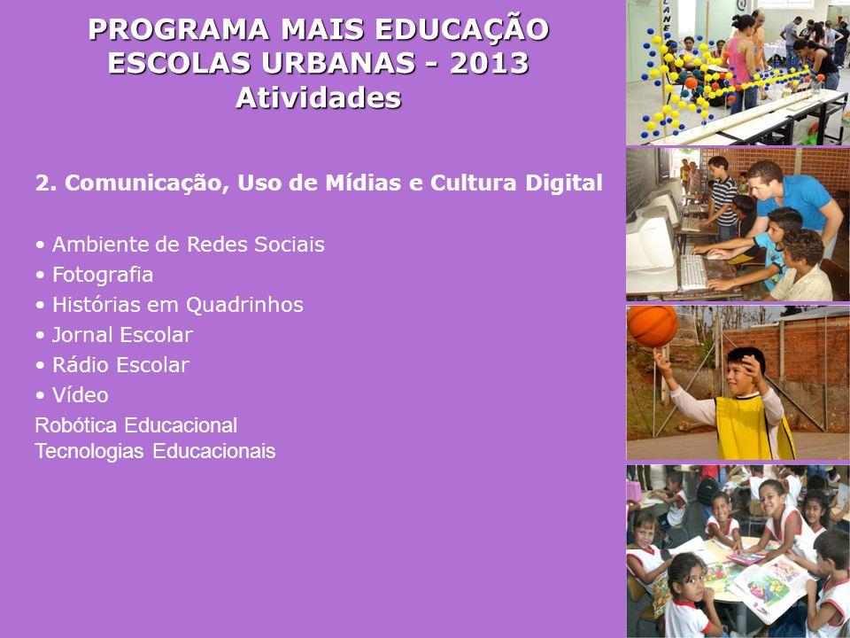 PROGRAMA MAIS EDUCAÇÃO ESCOLAS URBANAS - 2013 Atividades 2. Comunicação, Uso de Mídias e Cultura Digital • Ambiente de Redes Sociais • Fotografia • Hi