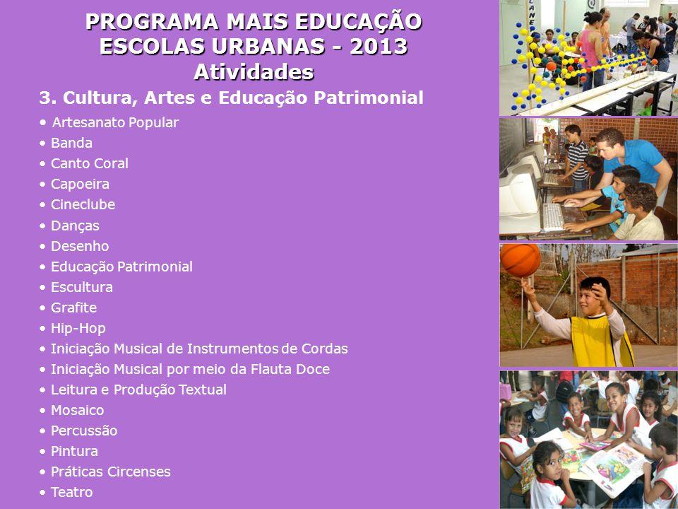PROGRAMA MAIS EDUCAÇÃO ESCOLAS URBANAS - 2013 Atividades 3. Cultura, Artes e Educação Patrimonial • Artesanato Popular • Banda • Canto Coral • Capoeir