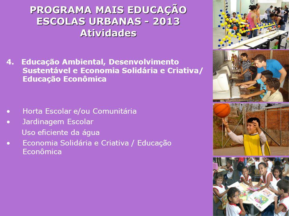 PROGRAMA MAIS EDUCAÇÃO ESCOLAS URBANAS - 2013 Atividades 4. Educação Ambiental, Desenvolvimento Sustentável e Economia Solidária e Criativa/ Educação