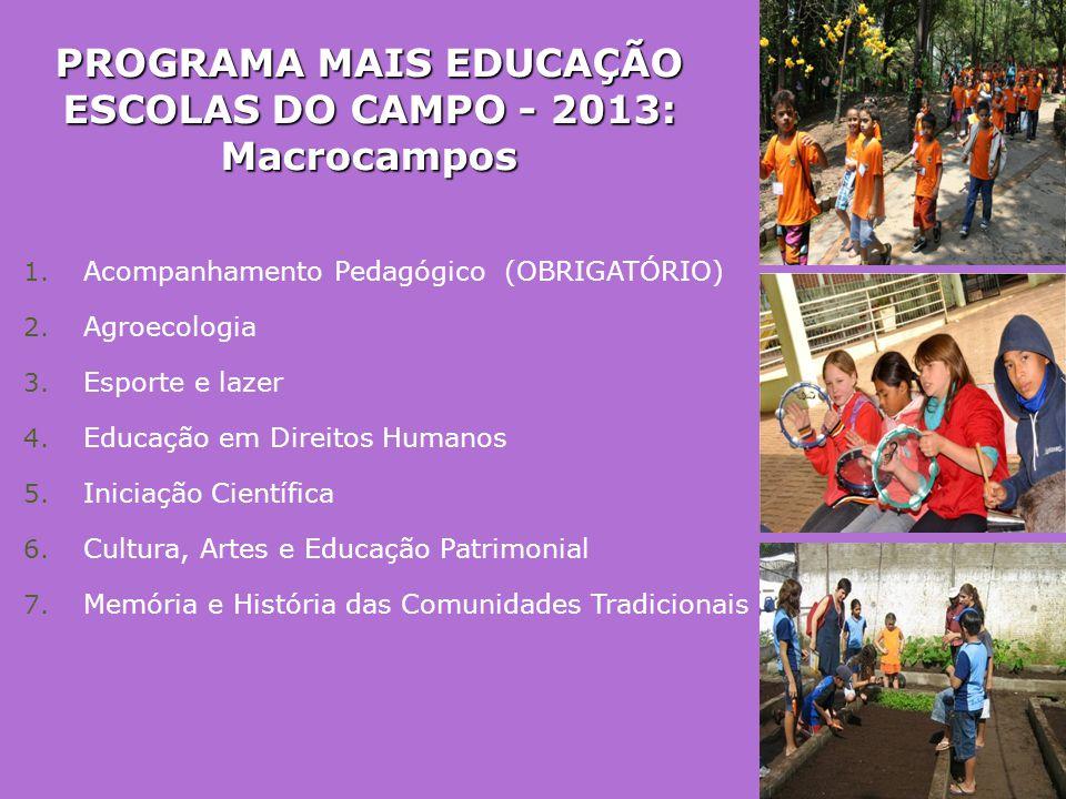 PROGRAMA MAIS EDUCAÇÃO ESCOLAS DO CAMPO - 2013: Macrocampos 1. Acompanhamento Pedagógico (OBRIGATÓRIO) 2. Agroecologia 3. Esporte e lazer 4. Educação