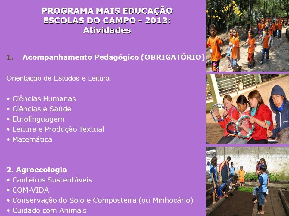 PROGRAMA MAIS EDUCAÇÃO ESCOLAS DO CAMPO - 2013: Atividades 1. Acompanhamento Pedagógico (OBRIGATÓRIO) Orientação de Estudos e Leitura • Ciências Human
