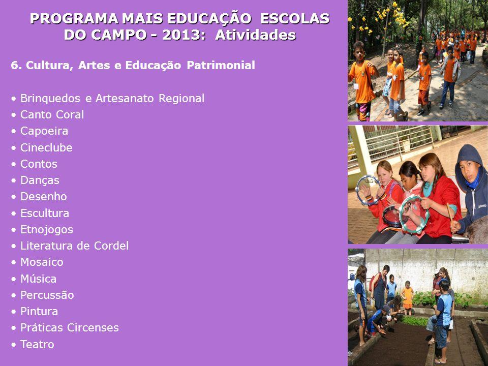 PROGRAMA MAIS EDUCAÇÃO ESCOLAS DO CAMPO - 2013: Atividades 6. Cultura, Artes e Educação Patrimonial • Brinquedos e Artesanato Regional • Canto Coral •