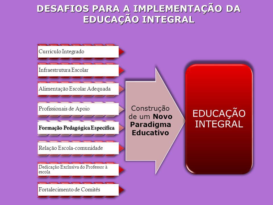 DESAFIOS PARA A IMPLEMENTAÇÃO DA EDUCAÇÃO INTEGRAL Currículo Integrado Infraestrutura Escolar Alimentação Escolar Adequada Profissionais de Apoio Formação Pedagógica Específica Relação Escola-comunidade Dedicação Exclusiva do Professor à escola Fortalecimento de Comitês EDUCAÇÃO INTEGRAL Construção de um Novo Paradigma Educativo
