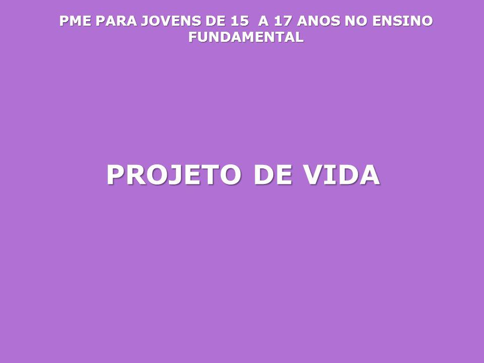 PME PARA JOVENS DE 15 A 17 ANOS NO ENSINO FUNDAMENTAL PROJETO DE VIDA