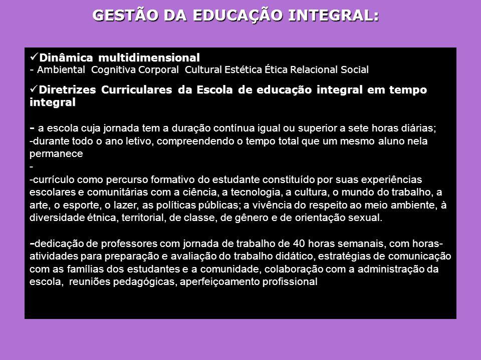 GESTÃO DA EDUCAÇÃO INTEGRAL:  Dinâmica multidimensional - Ambiental Cognitiva Corporal Cultural Estética Ética Relacional Social  Diretrizes Curricu