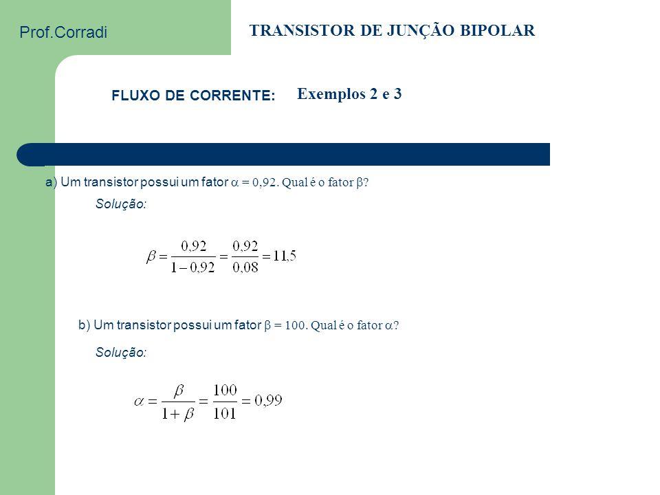 Prof.Corradi TRANSISTOR DE JUNÇÃO BIPOLAR FLUXO DE CORRENTE: Exemplo 1 Substituindo ( I ) em ( II ), podemos calcular a corrente de base: I C =  I E