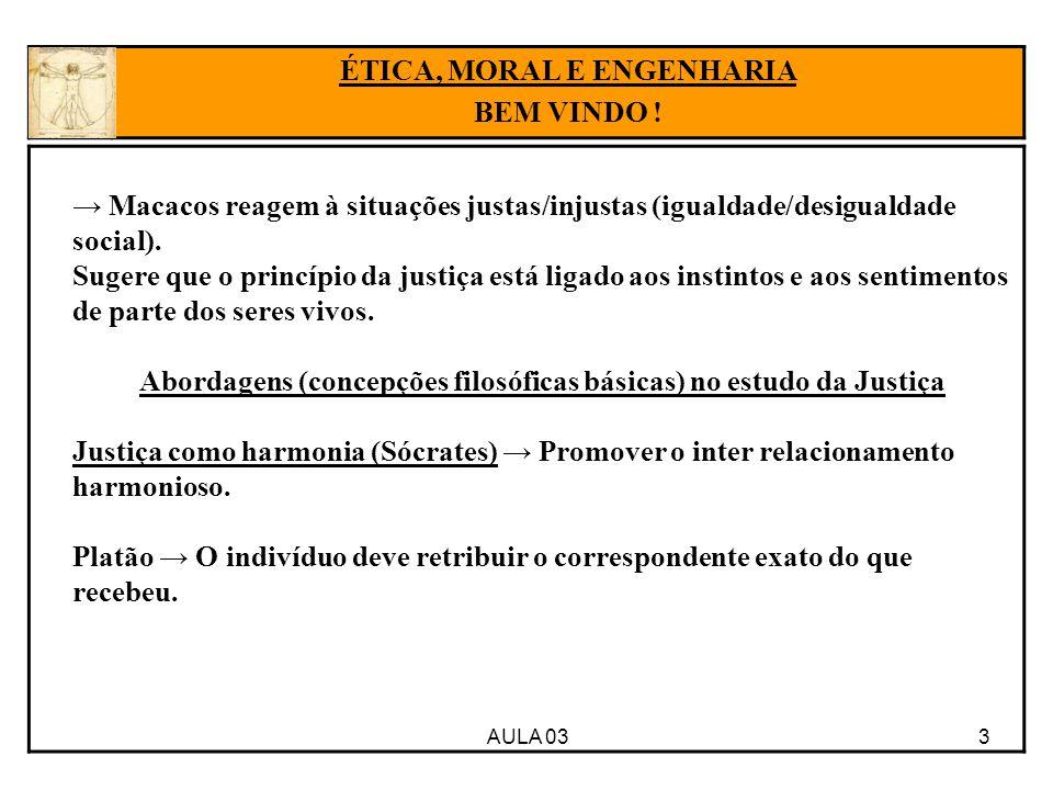 AULA 03 3 → Macacos reagem à situações justas/injustas (igualdade/desigualdade social). Sugere que o princípio da justiça está ligado aos instintos e