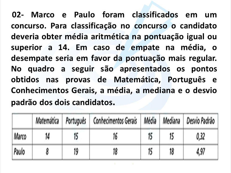 02- Marco e Paulo foram classificados em um concurso. Para classificação no concurso o candidato deveria obter média aritmética na pontuação igual ou