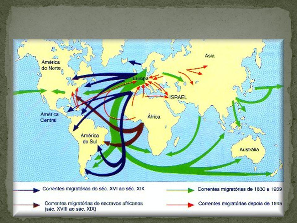 1530 – 1808: Fluxo não considerado apesar de grande (1 milhão de portugueses e 4 milhões de escravos.)  1808 – 1850: Abertura dos Portos – Fluxo pequeno  1850 – 1930: Lei Eusébio de Queirós - Fluxo Grande  (+/- 4,3 milhões de imigrantes)  1930-1945: Crise Econômica Mundial – Grande declínio do fluxo.