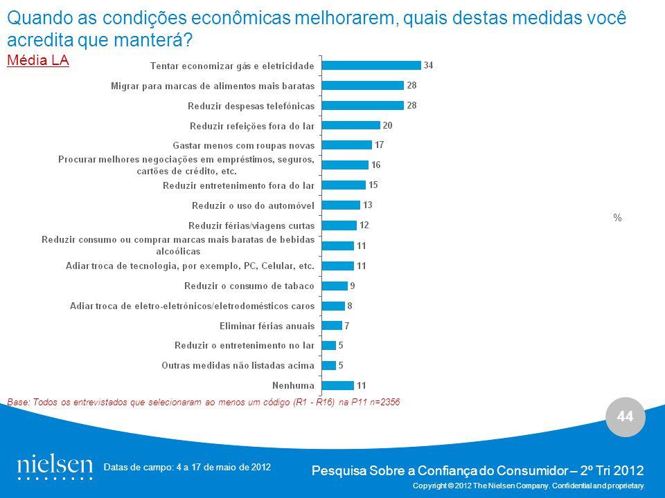 44 Pesquisa Sobre a Confiança do Consumidor – 2º Tri 2012 Copyright © 2012 The Nielsen Company.