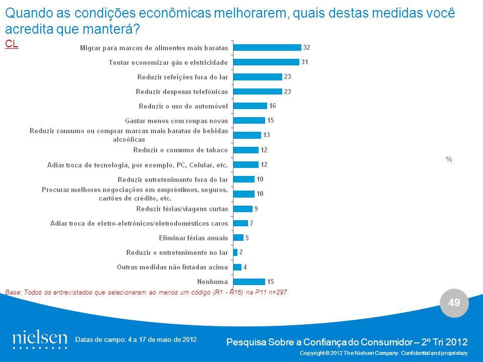 49 Pesquisa Sobre a Confiança do Consumidor – 2º Tri 2012 Copyright © 2012 The Nielsen Company.
