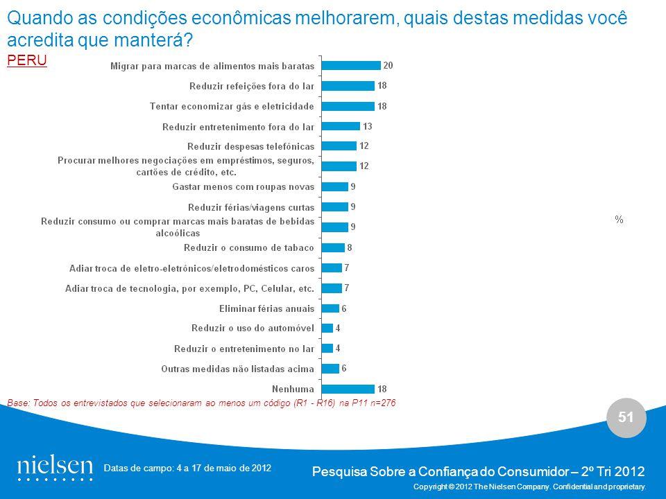 51 Pesquisa Sobre a Confiança do Consumidor – 2º Tri 2012 Copyright © 2012 The Nielsen Company.