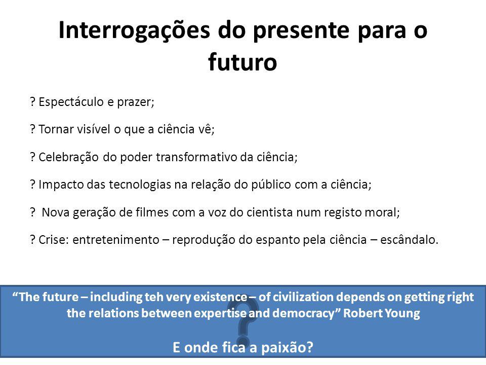 Interrogações do presente para o futuro . Espectáculo e prazer; .
