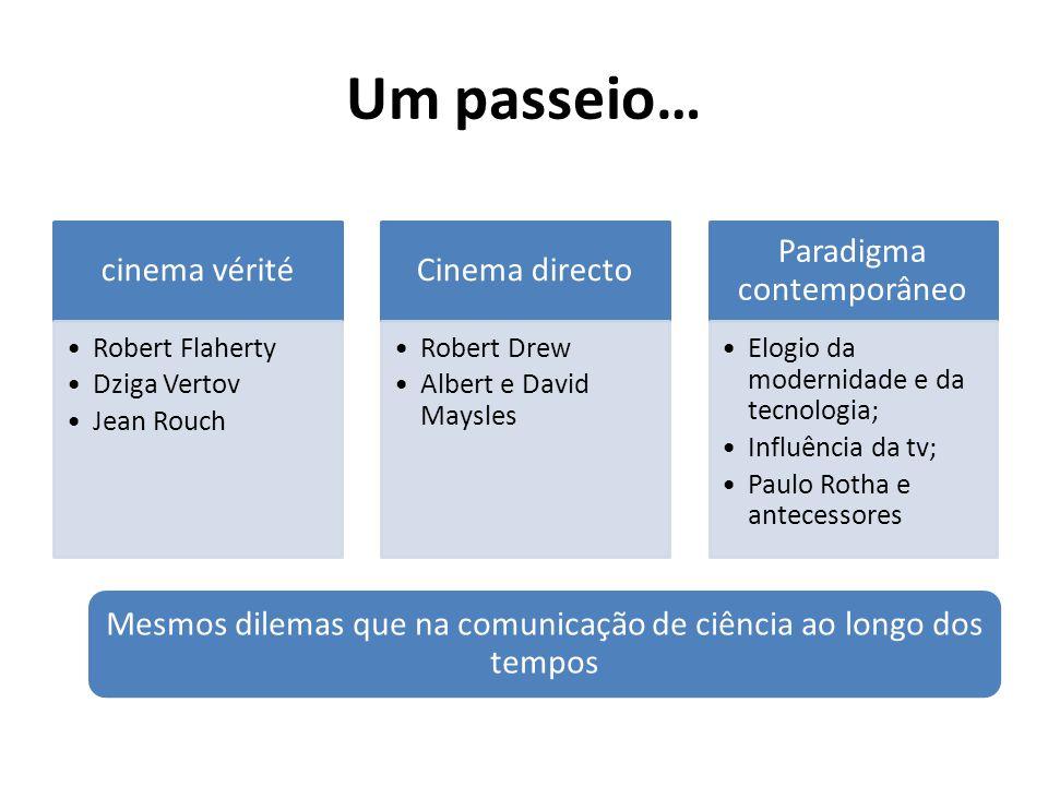 Um passeio… cinema vérité •Robert Flaherty •Dziga Vertov •Jean Rouch Cinema directo •Robert Drew •Albert e David Maysles Paradigma contemporâneo •Elog