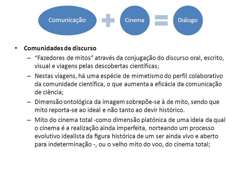 """• Comunidades de discurso – """"Fazedores de mitos"""" através da conjugação do discurso oral, escrito, visual e viagens pelas descobertas científicas; – Ne"""