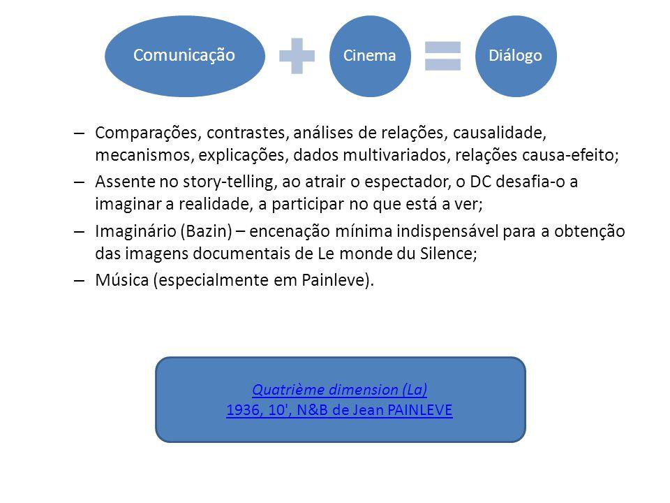 – Comparações, contrastes, análises de relações, causalidade, mecanismos, explicações, dados multivariados, relações causa-efeito; – Assente no story-