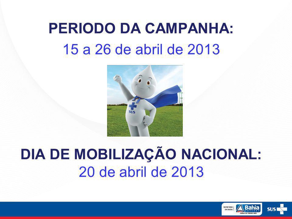 PERIODO DA CAMPANHA: 15 a 26 de abril de 2013 DIA DE MOBILIZAÇÃO NACIONAL: 20 de abril de 2013