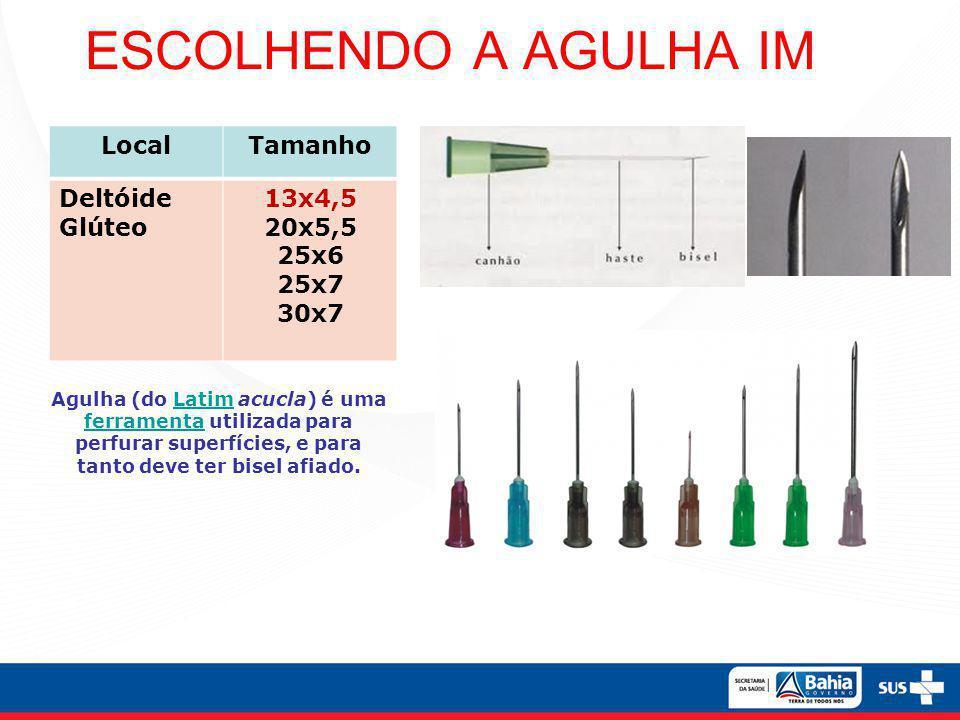 ESCOLHENDO A AGULHA IM LocalTamanho Deltóide Glúteo 13x4,5 20x5,5 25x6 25x7 30x7 Agulha (do Latim acucla) é uma ferramenta utilizada para perfurar sup