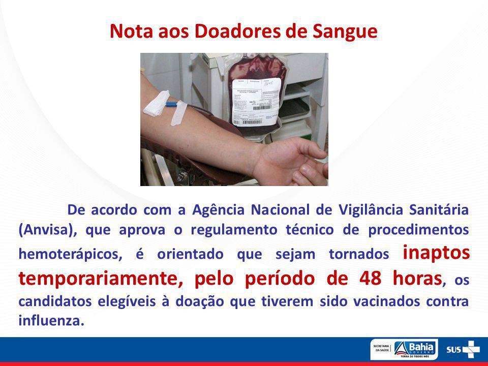 Nota aos Doadores de Sangue De acordo com a Agência Nacional de Vigilância Sanitária (Anvisa), que aprova o regulamento técnico de procedimentos hemot