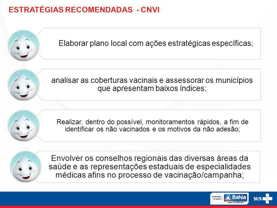 Elaborar plano local com ações estratégicas específicas; analisar as coberturas vacinais e assessorar os municípios que apresentam baixos índices; Rea