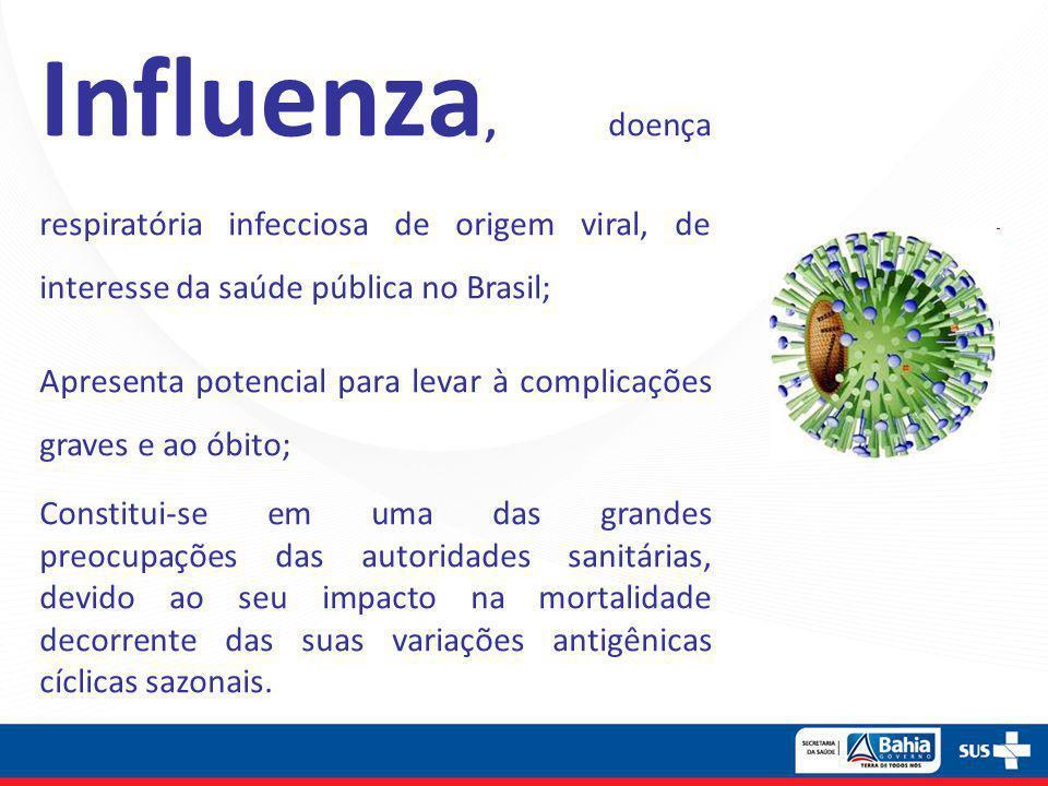 Influenza, doença respiratória infecciosa de origem viral, de interesse da saúde pública no Brasil; Apresenta potencial para levar à complicações grav