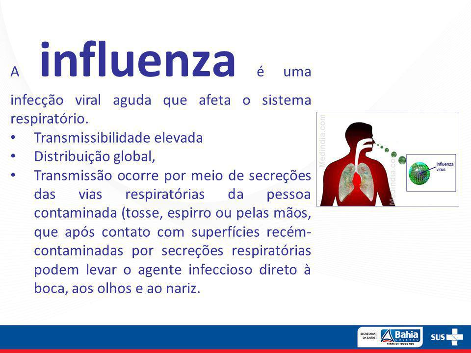 A influenza é uma infecção viral aguda que afeta o sistema respiratório. • Transmissibilidade elevada • Distribuição global, • Transmissão ocorre por