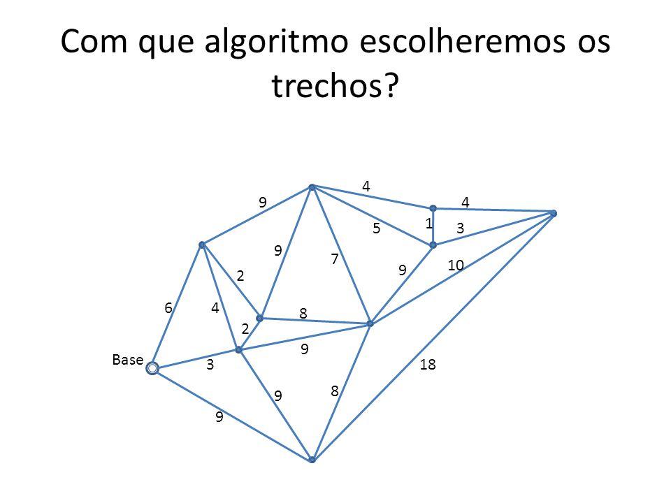 Com que algoritmo escolheremos os trechos? 3 64 2 2 8 8 9 9 9 18 9 9 4 5 1 4 3 9 10 Base 7