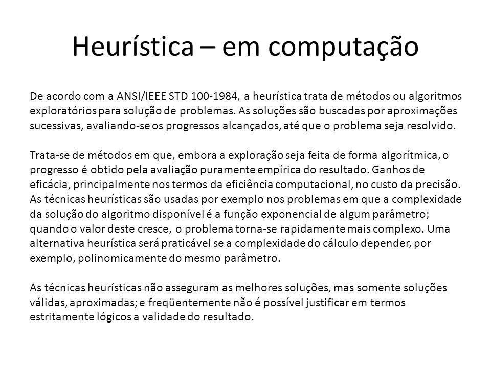 Heurística – em computação De acordo com a ANSI/IEEE STD 100-1984, a heurística trata de métodos ou algoritmos exploratórios para solução de problemas