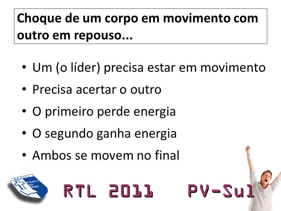 RTL 2011 PV-Sul Choque de um corpo em movimento com outro em repouso... • Um (o líder) precisa estar em movimento • Precisa acertar o outro • O primei