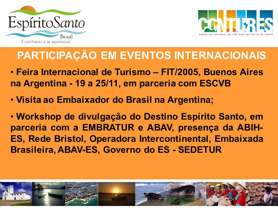 PARTICIPAÇÃO EM EVENTOS INTERNACIONAIS • Feira Internacional de Turismo – FIT/2005, Buenos Aires na Argentina - 19 a 25/11, em parceria com ESCVB • Vi