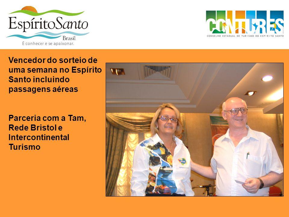 Vencedor do sorteio de uma semana no Espírito Santo incluindo passagens aéreas Parceria com a Tam, Rede Bristol e Intercontinental Turismo