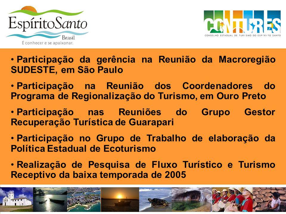 • Participação da gerência na Reunião da Macroregião SUDESTE, em São Paulo • Participação na Reunião dos Coordenadores do Programa de Regionalização d