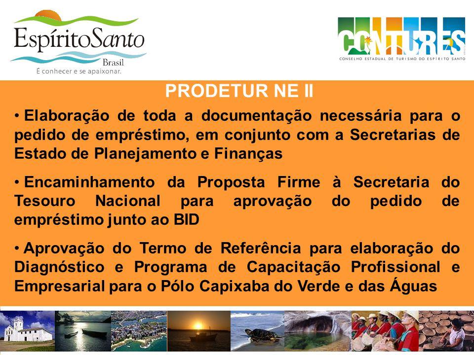 • Elaboração de toda a documentação necessária para o pedido de empréstimo, em conjunto com a Secretarias de Estado de Planejamento e Finanças • Encam