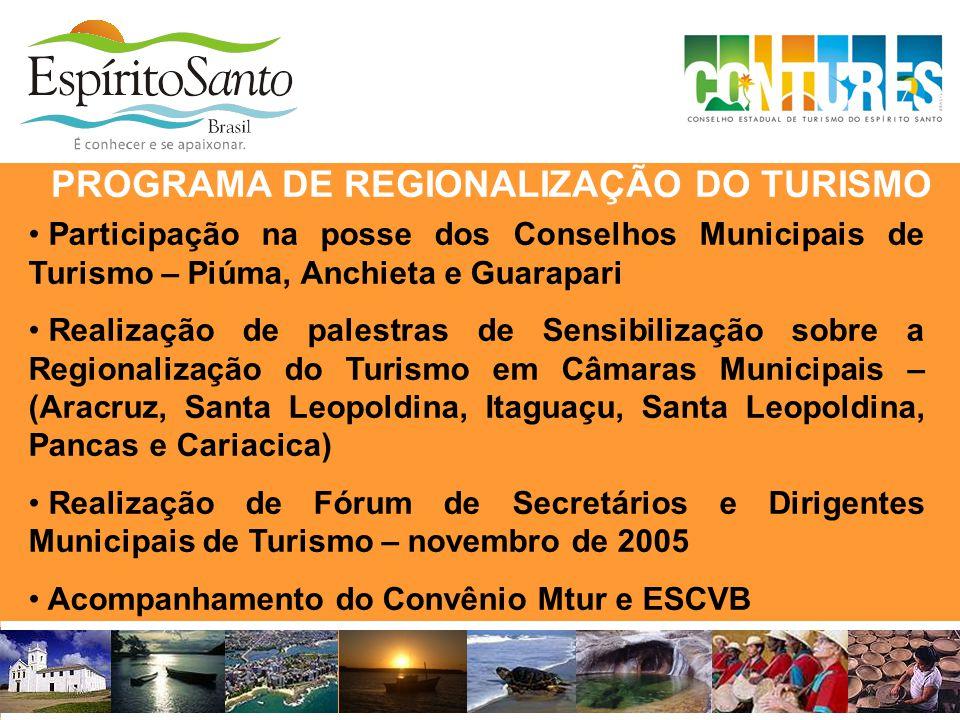 PROGRAMA DE REGIONALIZAÇÃO DO TURISMO • Participação na posse dos Conselhos Municipais de Turismo – Piúma, Anchieta e Guarapari • Realização de palest